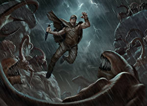 Wallpaper Riddick film Vin Diesel Men Warrior Monsters Rain Jump film Celebrities Fantasy
