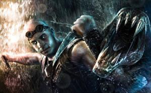 Bakgrundsbilder på skrivbordet Riddick 2013 Vin Diesel En man Krigare Monster Regn Tänder Filmer Kändisar Fantasy