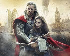 Image Thor: The Dark World Men Chris Hemsworth Natalie Portman Warrior Thor hero War hammer Celebrities Girls