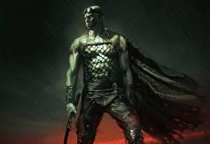 Bakgrundsbilder på skrivbordet Riddick 2013 En man Krigare Vin Diesel Mantel dräkt Filmer Kändisar