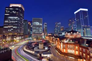 壁纸、、日本、住宅、東京都、ストリート、夜、メガロポリス、都市