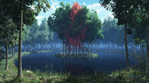 Wallpapers Forests Island Lake Trees 3D_Graphics