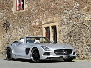 Wallpapers Mercedes-Benz Silver color Cabriolet Walls 2013 Inden Design Borrasca SLS 63 AMG roadst automobile