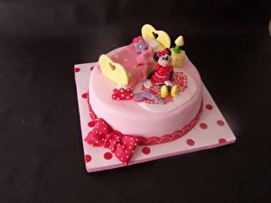 Fotos Süßigkeiten Torte Schleife Farbigen hintergrund Lebensmittel