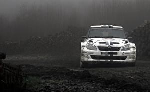 Hintergrundbilder Skoda Weiß Vorne Fabia Autos Sport