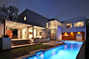 Wallpapers Houses Mansion Pools High-tech style Cities