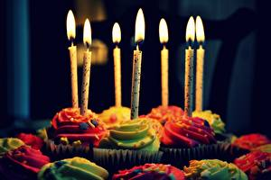 Image Holidays Candles Confectionery Little cakes Birthday Flame
