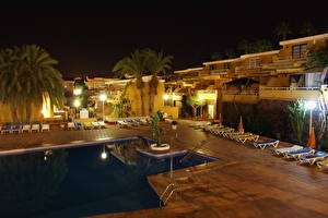 Wallpapers Spain Spa town Canary Islands Pools Night  Cities