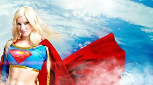 Fonds d'écran Héros de bande dessinée Supergirl Héros Cape vêtement Blondeur Fille Fantasy Filles