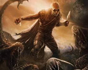 Bakgrundsbilder på skrivbordet Riddick 2013 Vin Diesel Män Krigare Filmer Fantasy Kändisar