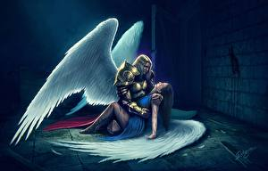 Wallpapers Angels Men Wings Armor Two Fantasy Girls
