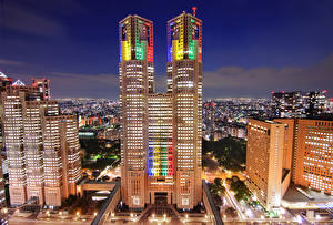 壁纸、、日本、建物、超高層建築物、東京都、メガロポリス、夜、都市