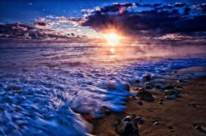 Fotos Meer Küste Sonnenaufgänge und Sonnenuntergänge Steine Himmel Sonne Wolke Horizont Natur