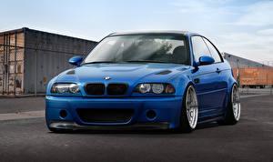 Bureaubladachtergronden BMW Blauw kleur Vooraanzicht M3 E46 Auto