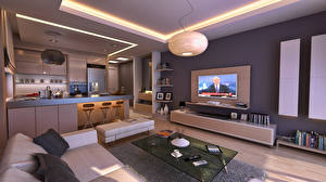 Pictures Interior Living room Couch Kitchen Ceiling High-tech style