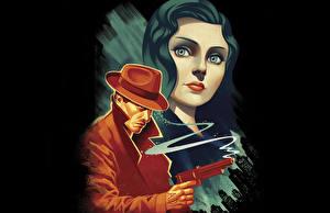Fotos BioShock Mann Vektorgrafik Pistolen Der Hut Spiele Mädchens