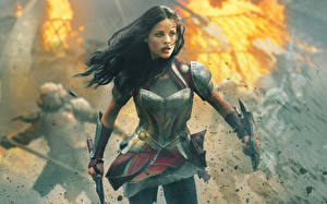 Pictures Thor: The Dark World Warrior Jaimie Alexander Armour Brunette girl Girls Celebrities
