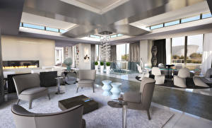Image Interior Table Chairs Ceiling Living room Room Design High-tech style