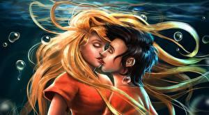Picture Love Underwater world Lovers Kisses Hair Blonde girl Guys Fantasy Girls