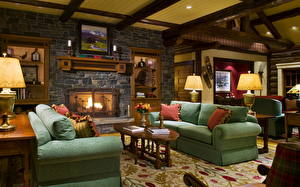 Wallpapers Interior Retro Sofa Fireplace Design Lamp