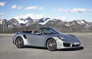 Hintergrundbilder Porsche Berg Graues Cabrio 2013 911 turbo cabriolet auto