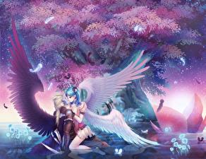 Fonds d'écran Amour Ange Aile Câlin Fantasy Filles Anime