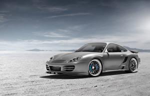 Bilder Porsche Himmel Wüste Graue silvery automobil