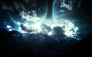 Pictures Planet Mountains Sky Clouds Fantasy