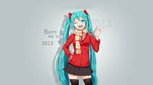 Tapety na pulpit Vocaloid Nowy Rok Hatsune Miku 2013 Uczennice Dziewczyny