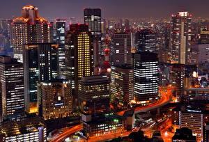 壁纸、、日本、住宅、超高層建築物、夜、メガロポリス、Osaka、都市