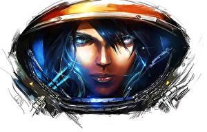 Image StarCraft StarCraft 2 Cosmonauts Helmet Face vdeo game Girls