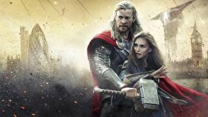 Wallpaper Thor: The Dark World Chris Hemsworth Natalie Portman Men Thor hero Warriors Armor War hammer Celebrities Girls Fantasy