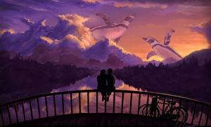 Images Love Bridges Penguin Bicycles Fence Sitting Fantasy