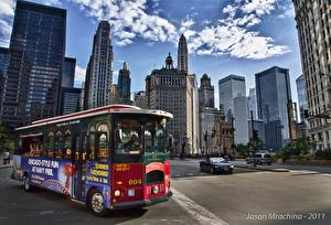 Image USA Houses Skyscrapers Roads Bus Street Chicago city Cities