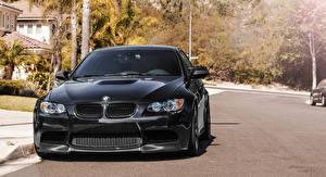 Bureaubladachtergronden BMW Zwart kleur Vooraanzicht m3 e92 auto's