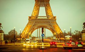 Bakgrunnsbilder Frankrike Veier Eiffeltårnet Gate Gatebelysning Paris byen
