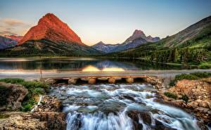 Hintergrundbilder Park Vereinigte Staaten Gebirge Flusse Brücken HDR Glacier Montana Natur