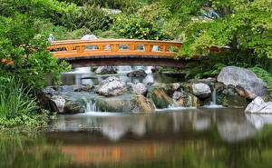 Pictures Austria Bridge Pond Park Gardens Vienna Setagaya Japanese Cities