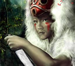 Fonds d'écran Guerrier Asiatique Couteau Masque Visage Voir Fantasy Filles