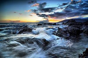 Images Coast Sea Sky Sunrises and sunsets USA Ocean Hawaii Clouds Water splash Nature