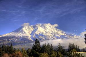 Bilder Gebirge USA Landschaftsfotografie Kalifornien Schnee HDRI Shasta Natur