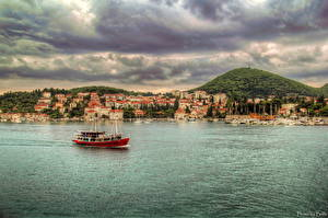 Pictures Croatia Water Houses Riverboat Dubrovnik HDR