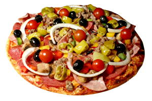 Bilder Fast food Pizza Oliven Tomaten das Essen
