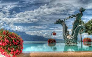Bilder See Schweiz Himmel Denkmal Wolke HDR Geneva Natur