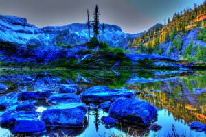 Bilder Landschaftsfotografie Vereinigte Staaten Steine Washington HDRI Natur