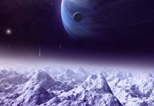 Wallpapers Planets Mountains Snow Space Fantasy 3D_Graphics