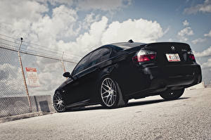 Images BMW Black Back view Clouds 3 Series 335i Cars