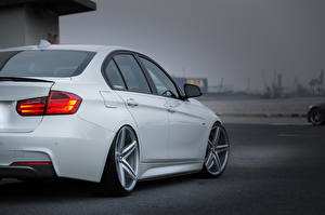 Picture BMW White Back view Headlights vossen Cars