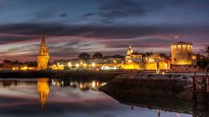 Bakgrunnsbilder Frankrike Kyst Natt Gatelykter La Rochelle Byer