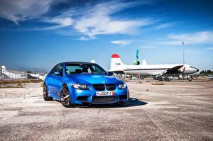 Image BMW Sky Light Blue Front Asphalt m3 e92 automobile